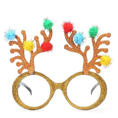 Fanci-Frame Adult Kids perfekte Party gefallen Brille Party Zubehör Weihnachten Rentier Party Sonnenbrille Brille (Farbe : Gold)