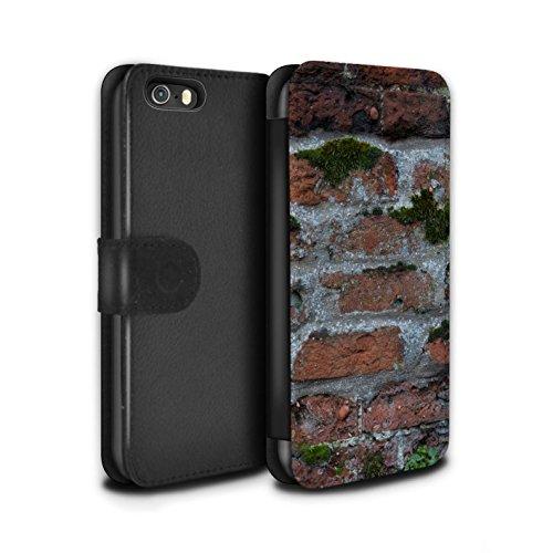 STUFF4 PU-Leder Hülle/Case/Tasche/Cover für Apple iPhone 5/5S / Feuerstein/Stein Muster / Mauerwerk Kollektion Moos Grün