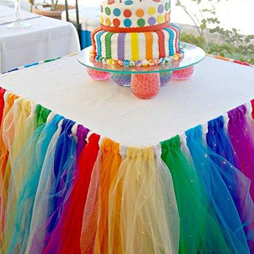 Lanlan Tüll Tisch Röcke, Tisch Tuch für die Hochzeit Party und alle Arten von Party (Rainbow Farbe 80cm * 91,5cm)