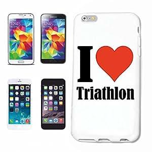 """Cas de Téléphone Samsung Galaxy S4 i9500 """"I Love Triathlon"""" ... Mince et belle, qui est notre étui. Le cas est fixé avec un clic sur votre smartphone ... Dans un étui rigide Social Design Network avec Hashtag # Cas Couverture mobile de téléphone pour HTC Smart Cover Smartphone / Téléphone portable à White.... Cadeau approprié pour les amis"""
