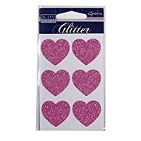 Icon Craft, Glitter Self Adhesives - Pink Hearts, 12 Pieces