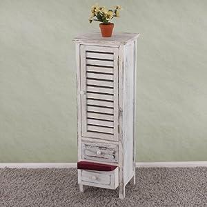 Arredo bagno cassettiera vintage T38 legno di paulonia 25x30x91cm ~ bianco da Mendler