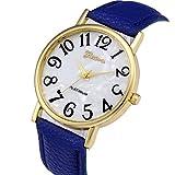 Xinantime Relojes Pulsera Mujer,Xinan Digital Retro Dial Cuero Banda Relojes de Cuarzo (Azúl)