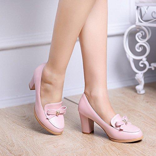Mee Shoes Damen Schleife Strass Geschlossen chunky heel Pumps Hellpink