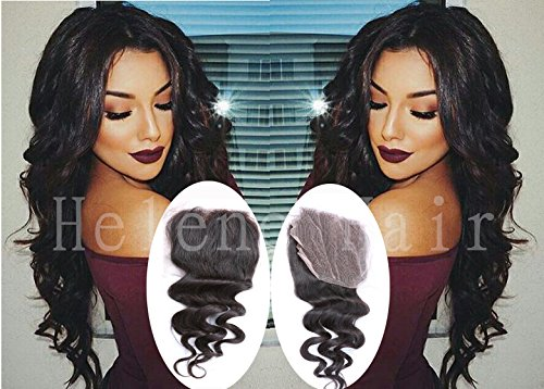 "Helene Hair Brazilian Virgin Hair Human Hair Loose Deep Wave Top Lace Closure (4""x4"") Free Middle 3 Part 8""-20"" Natural Black Bleached Knots (12"")"