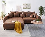 DELIFE Bigsofa Violetta Braun 310 x 135 cm Antik Optik Inklusive Hocker Kissen Big-Sofa