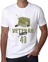 Veteran Since 40 Hombre Camiseta Blanco Regalo De Cumpleaños