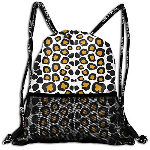 Xukmefat Leopard Durable Sport Drawstring Backpack for School Soccer Yoga