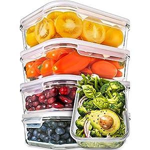 Prep Naturals Glas-Frischhaltedosen 5er-Set mit Deckel Dichte Essensbehälter 885 ml | Lunch-Box, Vorratsdosen, Aufbewahrungsdosen | Mikrowellen-, ofen- u. gefrierschrankgeeignet, spülmaschinenfest