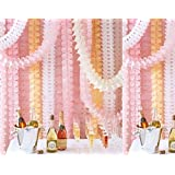 Life Glow Reusable Hanging Clover Garland Four-Leaf (3.6M Long each)-Tissue Paper Flowers, Tissue Paper Garland, Wedding Decor, Party Decor, Tissue Paper, Tissue Paper Flowers Kit, Garland Craft, Set of 6 (Pink)