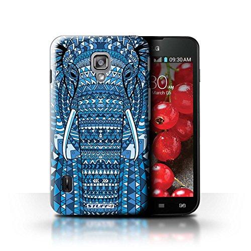 Kobalt® Imprimé Etui / Coque pour LG Optimus L7 II Dual / Loup-Pourpre conception / Série Motif Animaux Aztec éléphant-Bleu