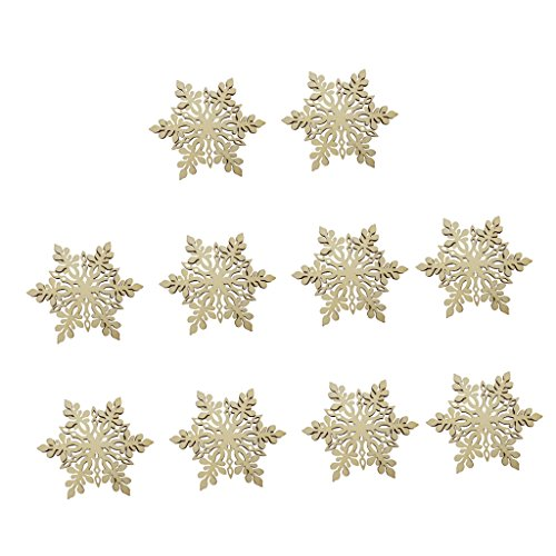 10pz Esagono Fiocco Di Neve in Legno Abbellimento albero Di Natale Decorazioni Addobbi
