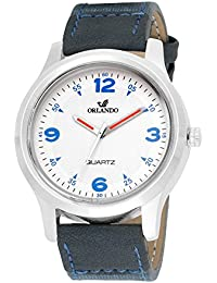 Orlando® Branded Japan Movement With White Dial & Blue Leather Belt & Blue Highlights Watches For Men - W1301BU2BU
