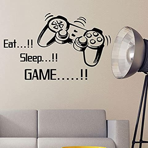 Eat Sleep Game Wall Stickers Boys Bedroom Art Letter DIY Kids Living Room Decoration Home Decor Mural