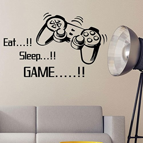 Eat Sleep Game Wall Stickers Boys Bedroom Art Letter DIY Kids Living Room Decoration Home Decor Mural Decals