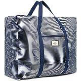 Cleostyle Strandtasche Damen Badetasche mit Reißverschluss Shopper Beach Bag Schultertasche groß Einkaufstasche 722 (Blau/Weiß Groß)