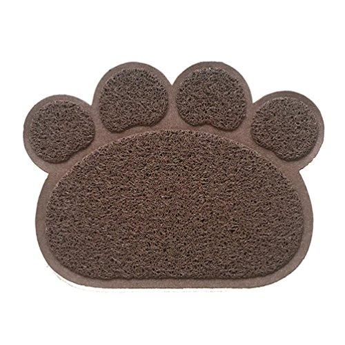 Hunde Vorleger Matte Pad,KINGCOO Katzentoilette Matratze Haustier-Tischset Platzmatte Tischmatte für Hunde Katzen,30X40CM Kleine Elastische PVC Pfote Desig (Kaffee)