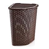 Tragar Rattan Eck-Wäschekorb mit Deckel Wäschebox Wäschebehälter Wäschesammler Korb Rattanoptik (52L Dreieck, Braun)