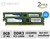 Timetec Hynix IC 8GB DDR3 1333MHz PC3-10600 Unbuffered Non-ECC 1.5V CL9 1Rx8 Single Rank 240 Pin UDIMM Desktop Memory Ram Module Upgrade (8GB Kit (2x4GB))