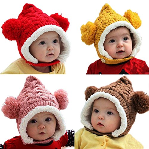 mark8shop Lovely Winter Beanie Crochet Knit lose warm Kid Baby Girl Boy Dual Bälle Ohr Wolle Knit Beanie Cap Strickmütze mit Ohrenklappen -