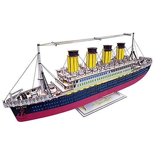 LayOPO Titanic 3D-Puzzle aus Holz, große Nachbildung, 3D-Titanik-Boot-Modell, Farbe DIY 3D-Puzzle Geschenk für Kinder und Erwachsene (Modell Titanic Boot)