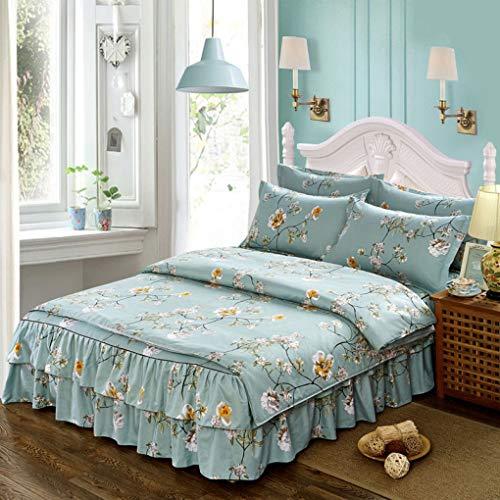 Daunen Bettbezug Pflanze Blume Bett Rock Anzug Hochzeit Sand Baumwolle Bettwäsche Anzug für die Ehe, Familie täglich,Green_Queen ()