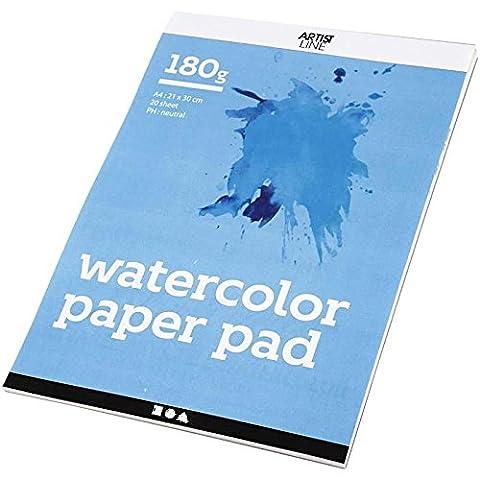 Bloc de papier aquarelle, A4 21x30 cm, 180 cm, blanc, 20feuilles