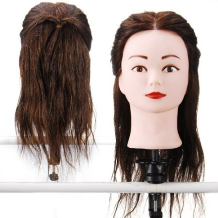15'' 100% Real Human Hair _ Dark Brown #4 , Female Barber Hairdresser Hair Hairdressing Hair Cutting Student Practice Training Head Doll Mannequin , with Clamp Holder by Fixbub