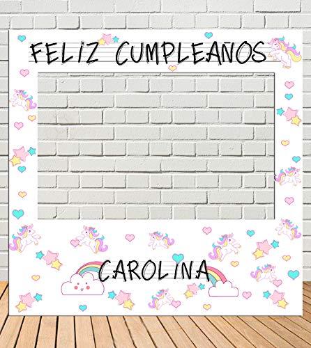 Tu Fiesta Mola Mazo Photocall de cumpleaños Unicornios 100x100cm| Divertido y económico|Detalle de cumpleaños| Hazte Unas Fotos Divertidas de cumpleaños| Personalizable