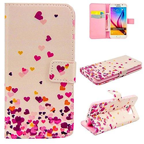 Preisvergleich Produktbild KSHOP Schutzhülle PU Leder Anti-Fingerprint für Samsung Galaxy S6 Edge Hülle Case Cover Magnetverschluss Bookstyle Handyhülle Taschen Ultradünn mit Standfunktion Schale Muster Prägung Erleichterung - Kleine farbige Liebe + Rose Bleistift Touch