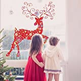 UberLyfe Merry Christmas with Deer Red Wall Sticker Size 4 (Wall Covering Area: 112cm x 100cm) - WS-1342