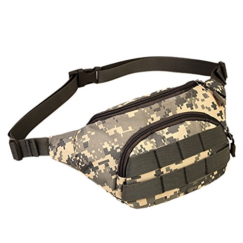 Aesy Men Women Military Cycling Waist Fanny Pack Bum Belt Bag Pouch Travel Hip Purse (Hip Bag Purse)