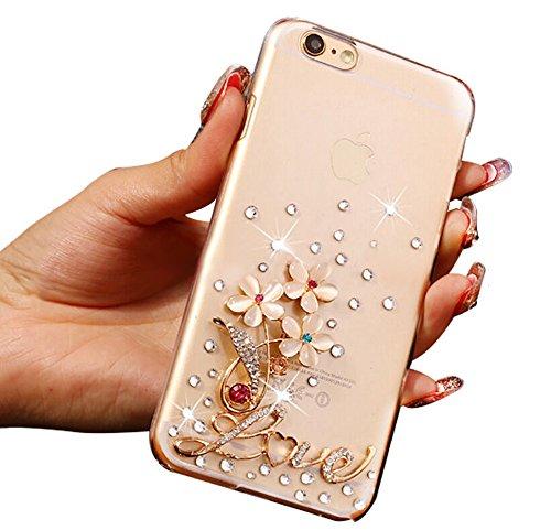 iphone6 6s 4.7 pollici Lite Custodia di silicone TPU Custodia Cover Case for iPhone 6 6S trasparente Nnopbeclik® Ultra Slim, grazioso bellezza custodia protettiva modello lucido glitter diamante stras fiore