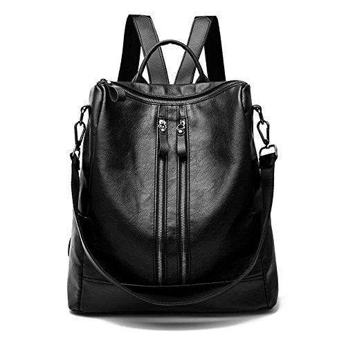 HGDR Frauen Leder Rucksack Rucksäcke Daypack Große Kapazität Handtasche Schultertasche Multifunktions Rucksack Reisetasche,Black-32 * 15 * 34cm