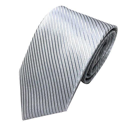 Xmiral Herren Krawatte Klassische Jacquard Gewebte Streifen Passen für Arbeit Lässig Party Hochzeit (Silber)