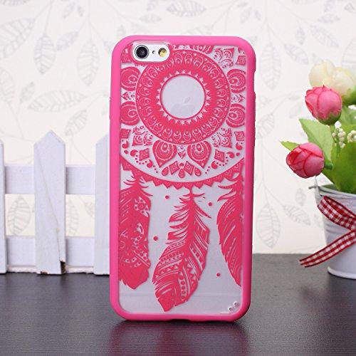EKINHUI iPhone 5SE 5S Case; Sch¨¹tzende PC harte r¨¹ckseitige Abdeckung Fall mit Druckmuster + TPU Bumper f¨¹r iPhone 5SE, iPhone 5S (Ethnic Tribal Henna-Red) Dream-Red