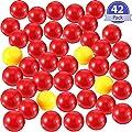 Gejoy 42 Pièces de Jeu de Billes de Remplacement 2 Ensembles de Balles de Remplacement de Jeu Compatible avec Hippopotames Affamés, 38 Balles Rouges et 4 Balles Jaunes