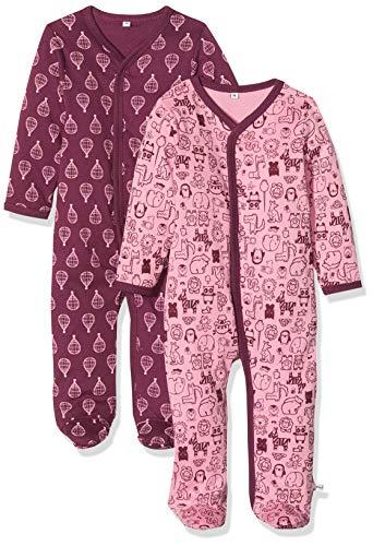 Pippi 2er Pack Baby Mädchen Schlafstrampler mit Aufdruck, Langarm mit Füßen, Alter 18-24 Monate, Größe: 92, Farbe: Lila, 3821