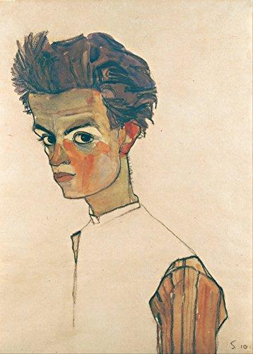 "EGON SCHIELE ""Selbstporträt mit gestreiftem Hemd"" 1910. 250 g/m², glänzend, Kunstdruck, A3, Reproduktion"