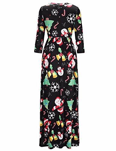 Frauen Christams langes Kleid runder Hals süßer Süßigkeits-Druck Maxi Kleid Weihnachtskleid #7