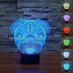 3d Illusion Cute shapei Pug perro Lámpara luces de la noche ajustable 7 colores LED 3d Creative Interruptor táctil estéreo visual atmósfera mesa regalo para Navidad