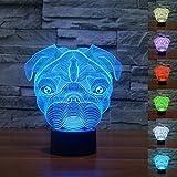3D Illusion Geburtstag Nachtlicht, 7 Farben ändern Touch LED Lampe für Kinder Geburtstagsgeschenk (Hund)