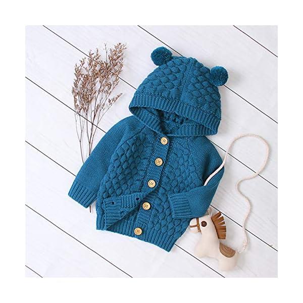 Borlai 3-24M Bebé De Punto De Abrigo Lindo Oído Con Capucha Suéter Chaqueta Casual Cardigan Outwear para Niño 4