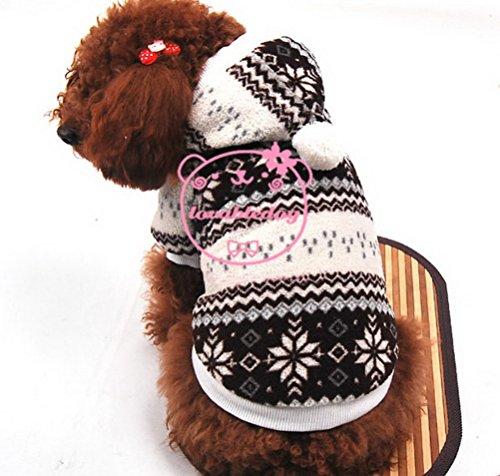 ZUNEA Schneeflocke Kleine Hund / Katze Mantel Fleece Gefüttert Hoodie Welpen Samt Mantel Jacke Weihnachten Weihnachten Kostüm Pet Urlaub Kleidung Braun L