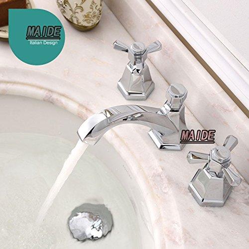 tougboo-Lavabo a 3fori Due maniglia rubinetto lavabo bagno diffusa rubinetto 3fori per lavabo (2 Maniglia Diffuso Rubinetto Di Lavabo)