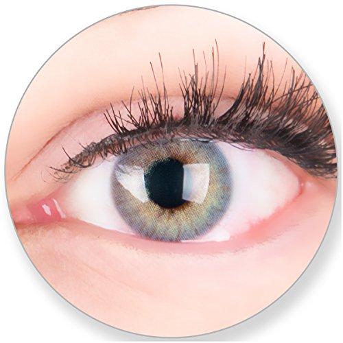 Glamlens Kontaktlinsen farbig blau ohne Stärke - mit Kontaktlinsenbehälter. Sehr stark deckende natürliche blaue farbige Monatslinsen Meeresblau 1 Paar weich Silikon Hydrogel 0.0 Dioptrien