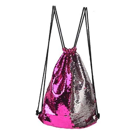 Longra Tunnelzug Strahl Port Tasche Mode im freien Rosen Casual Double Color Storage Bag Pailletten Unisex Brust Sporttasche (E)