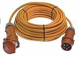 as - Schwabe 60562 CEE-Verlängerung 400V / 16A, 25m H07BQ-F5G2,5 mit Phasenwendestecker, orange, IP44 Gewerbe, Baustelle