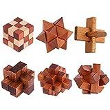 Puzzle Madera, FOKOM 6 Pack Puzzles 3D Juegos de Ingenio Juegos de Mesa Juego IQ Juguete Educativos Habilidad Juego Logica Calendario de Adviento para Niños y Adultos