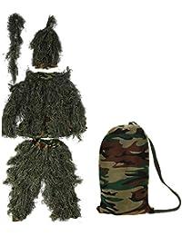 Zerone Ghillie - Traje de Camuflaje con diseño de Hojas de Woodland y Bosque, Accesorios
